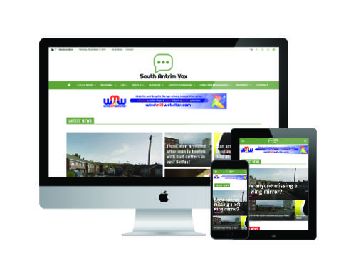 Website design for South Antrim Vox - local news from Newtownabbey and co Antrim